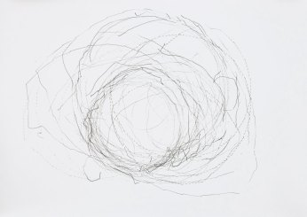 '698 Attempts to Find the Center', robot on paper, 100 x 70 cm, 2011