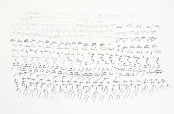 '714 Attempts to Write', robot on paper, 100 x 70 cm, 2011