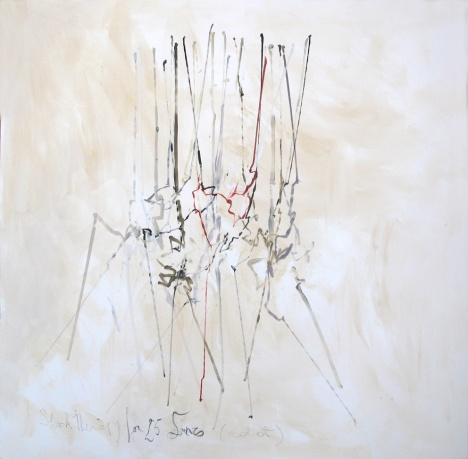 Shock therapy for 25 lines, 120 x 120 cm, robot, oil on canvas, 2014