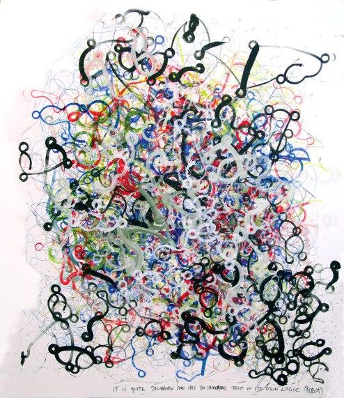 Stubborn, 160 x 140 cm, robot, acrylic on canvas, 2014