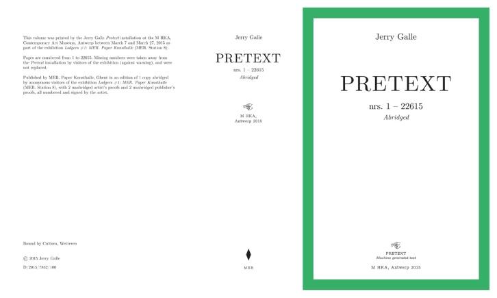 Pretext book fold printed at Muhka, Antwerp 2015